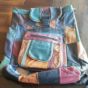 Patchwork leather backpack with adjustable straps
